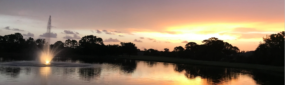 picture of the fountain during sunset at Stoneybrook Golf & Country Club.  Sarasota, Florida